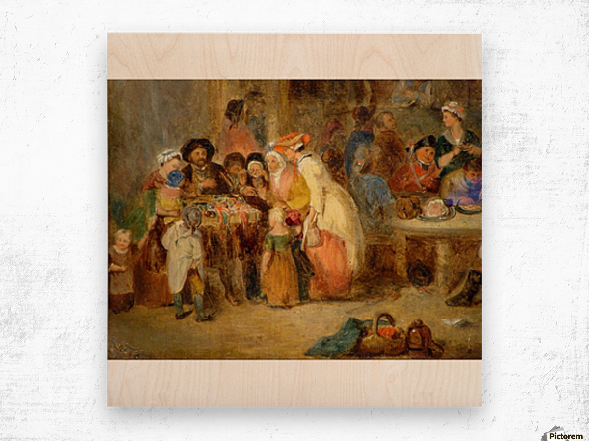 Antique oil painting Wood print
