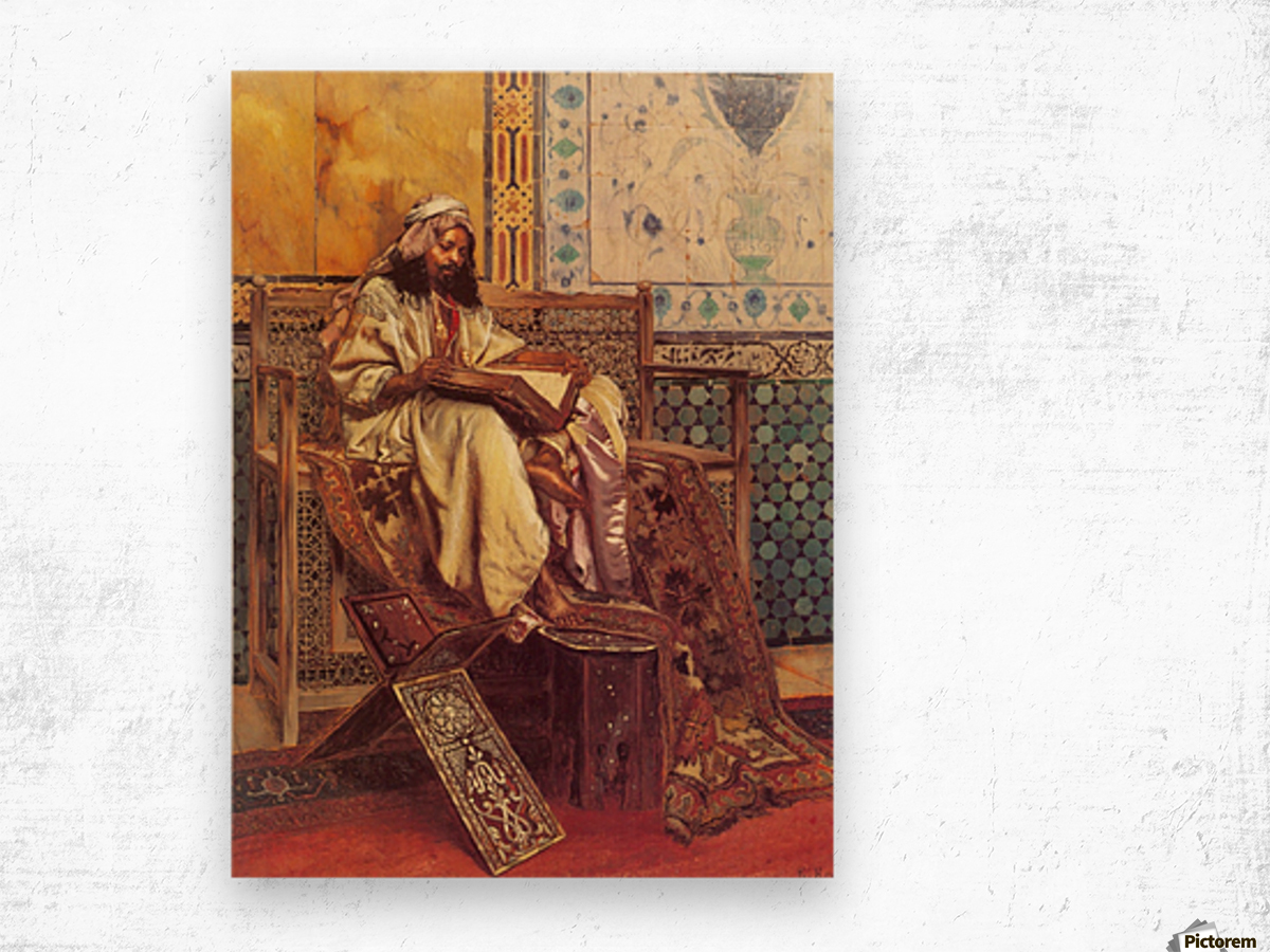 An Oriental man reading Wood print