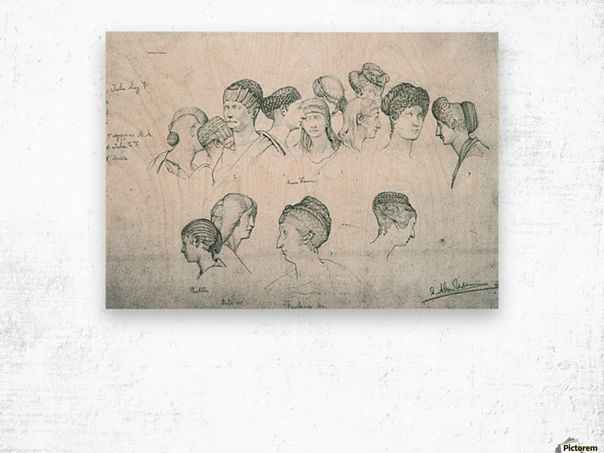 Sketch of hairstyles from ancient sculptures by Alma-Tadema Wood print