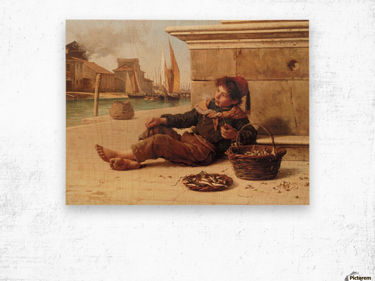 A young boy selling fish Wood print