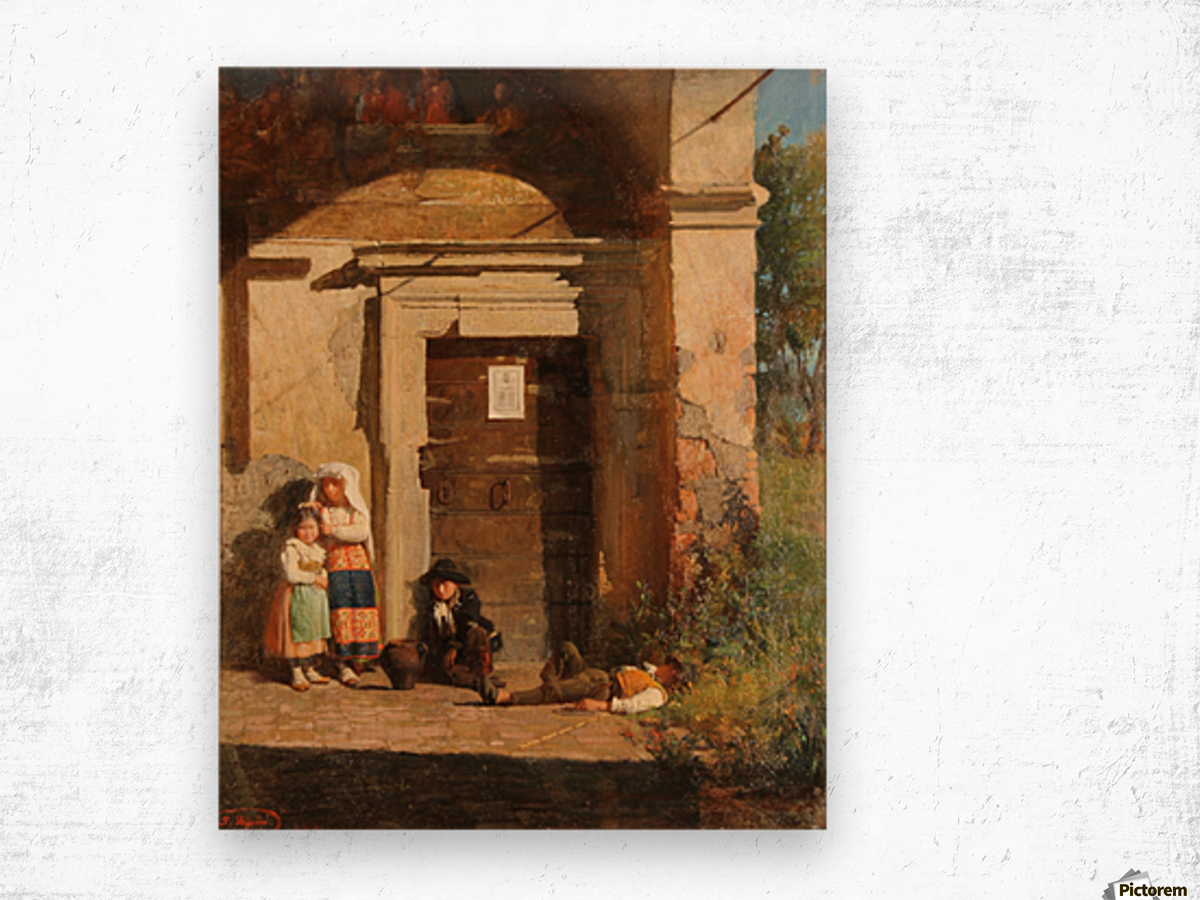 Nens sota la porxada Wood print