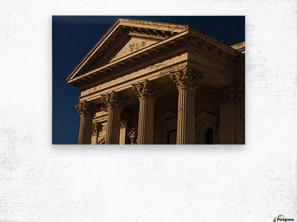 Old Building with Corinthian Pillars and Blue Sky Wood print