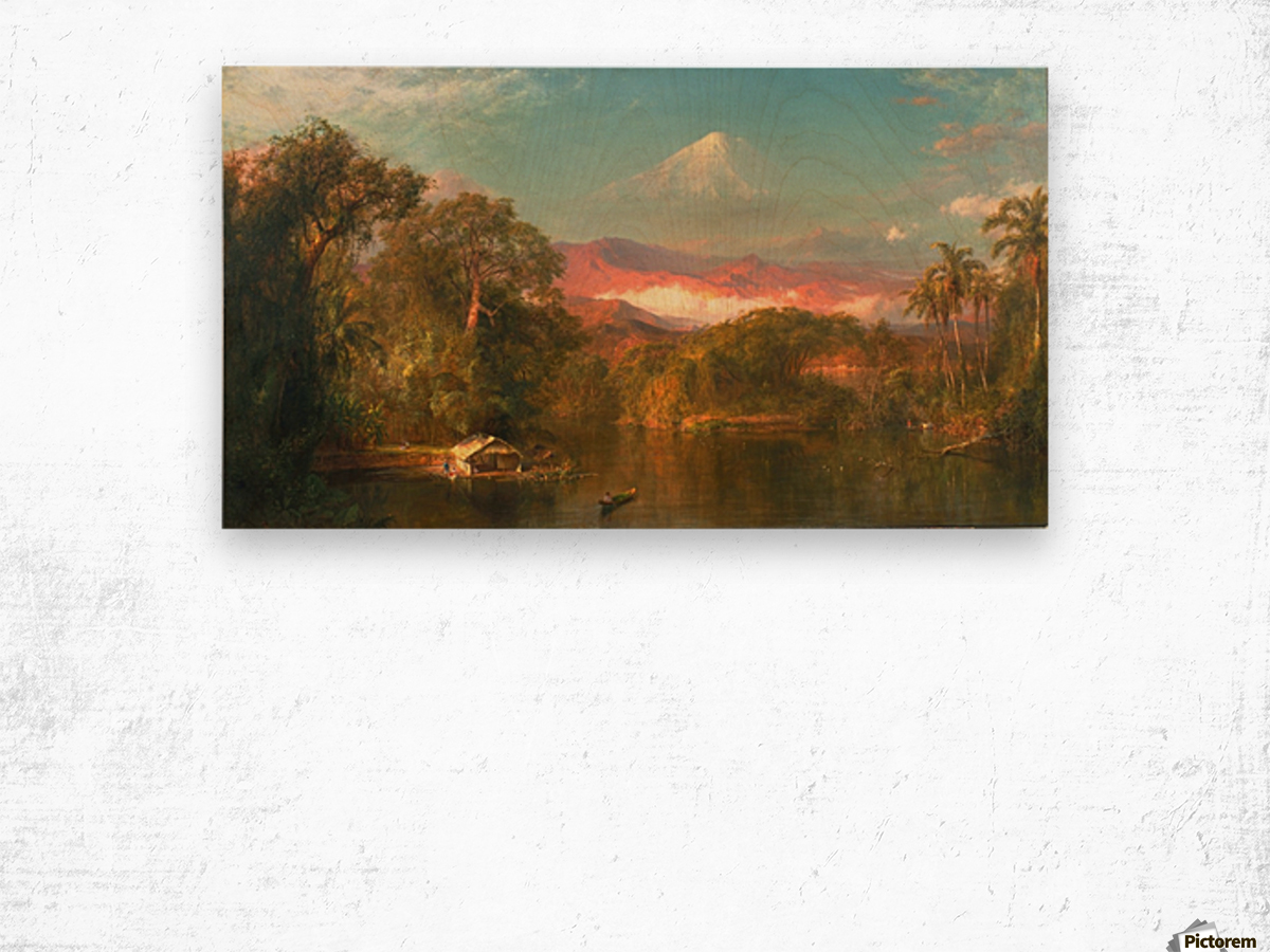 A small hut by a river Wood print