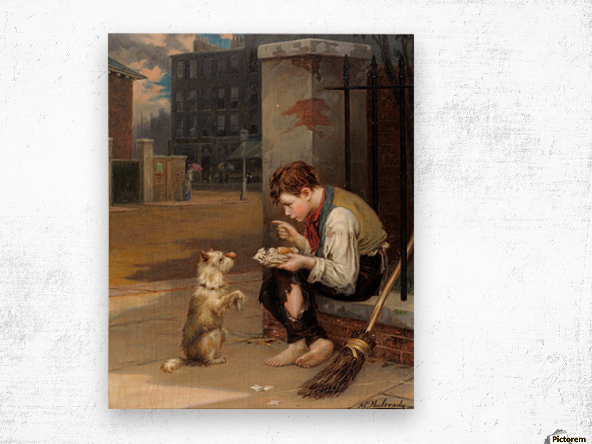 Training a small dog Impression sur bois