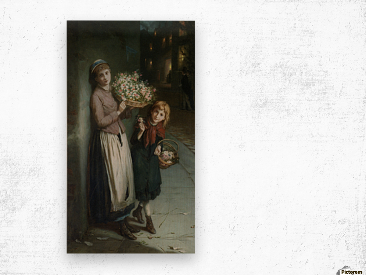 Two girls selling flowers Impression sur bois