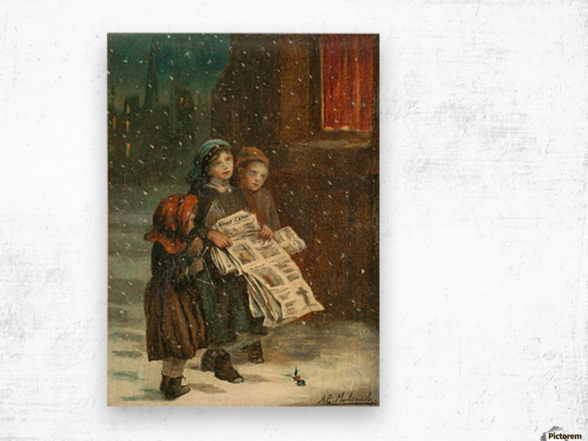 Small children with newspapers Impression sur bois