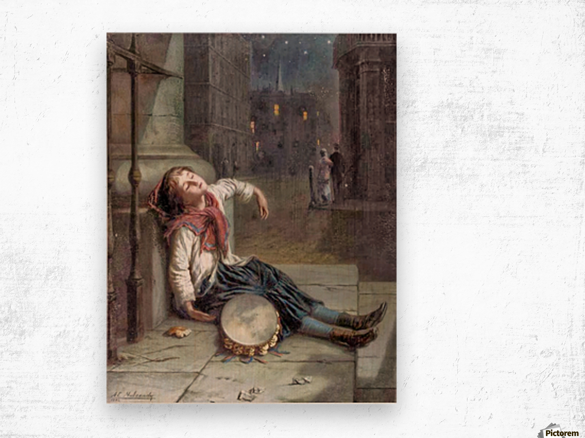 A child sleeping in the moonlight Impression sur bois