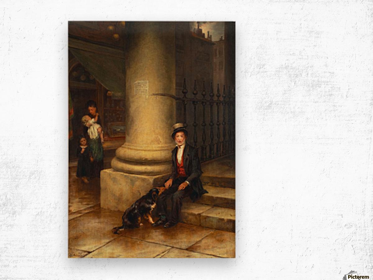 A family and a dog Impression sur bois