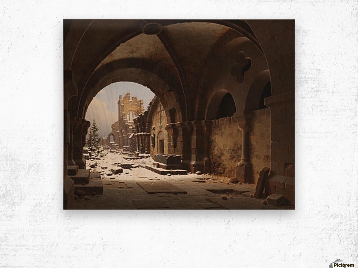 Blick auf die Kirchenruine im Winter Wood print