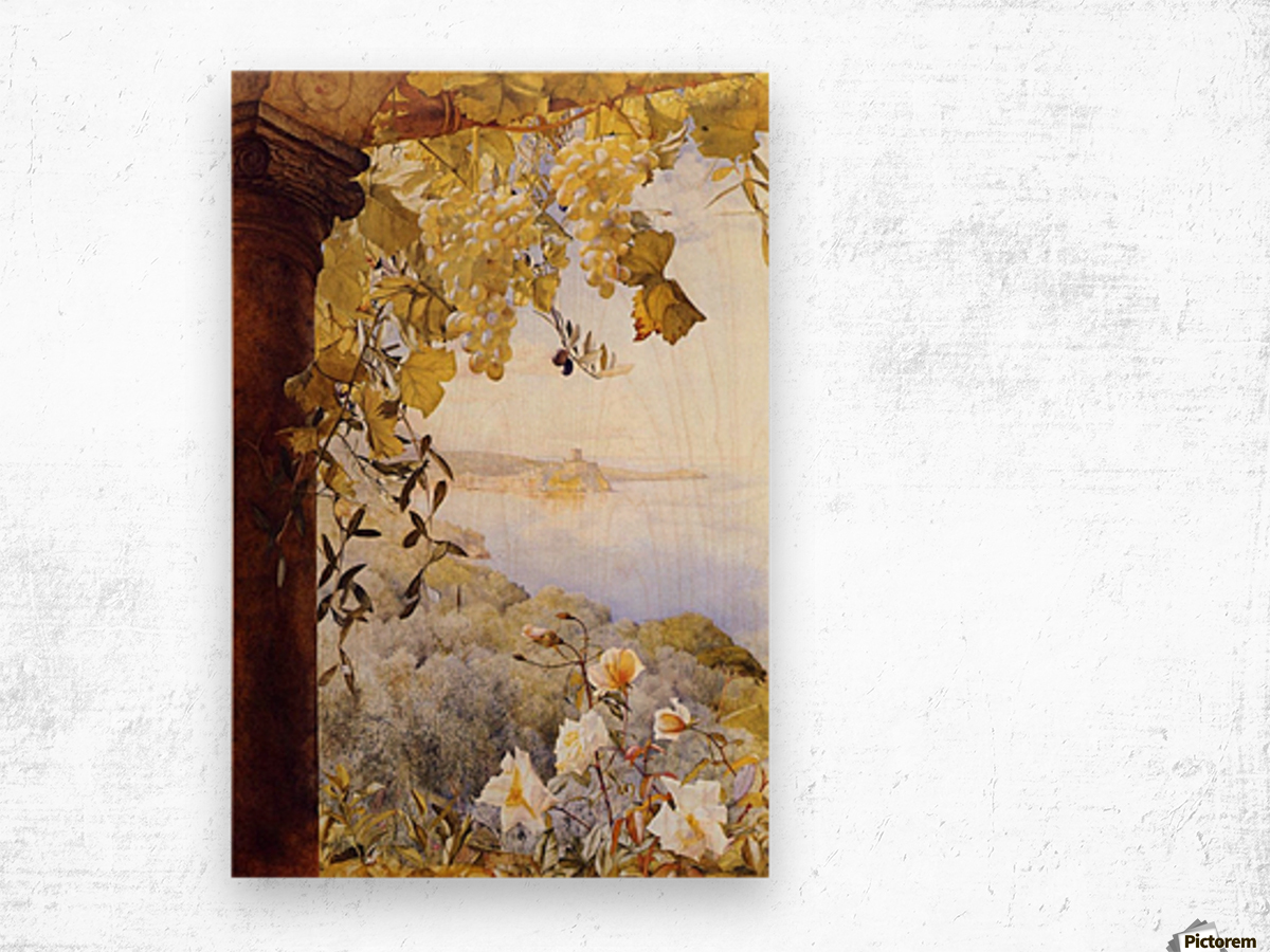 Grapes and flowers by the sea Wood print