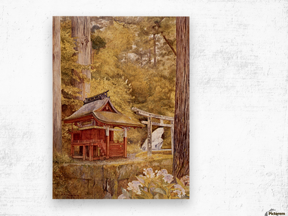 Japanese Pagoda In The Woods Wood print