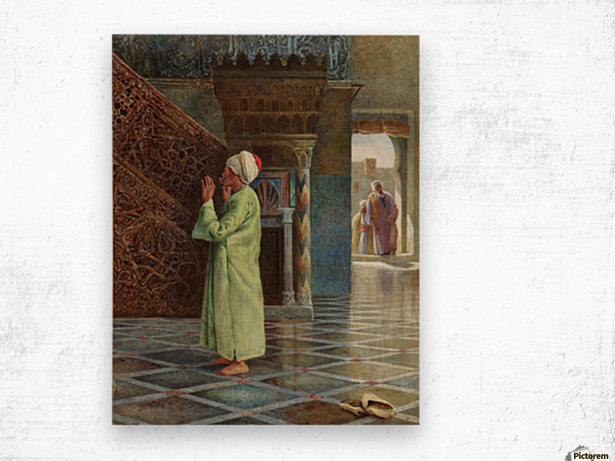 At prayer in the mosque Wood print