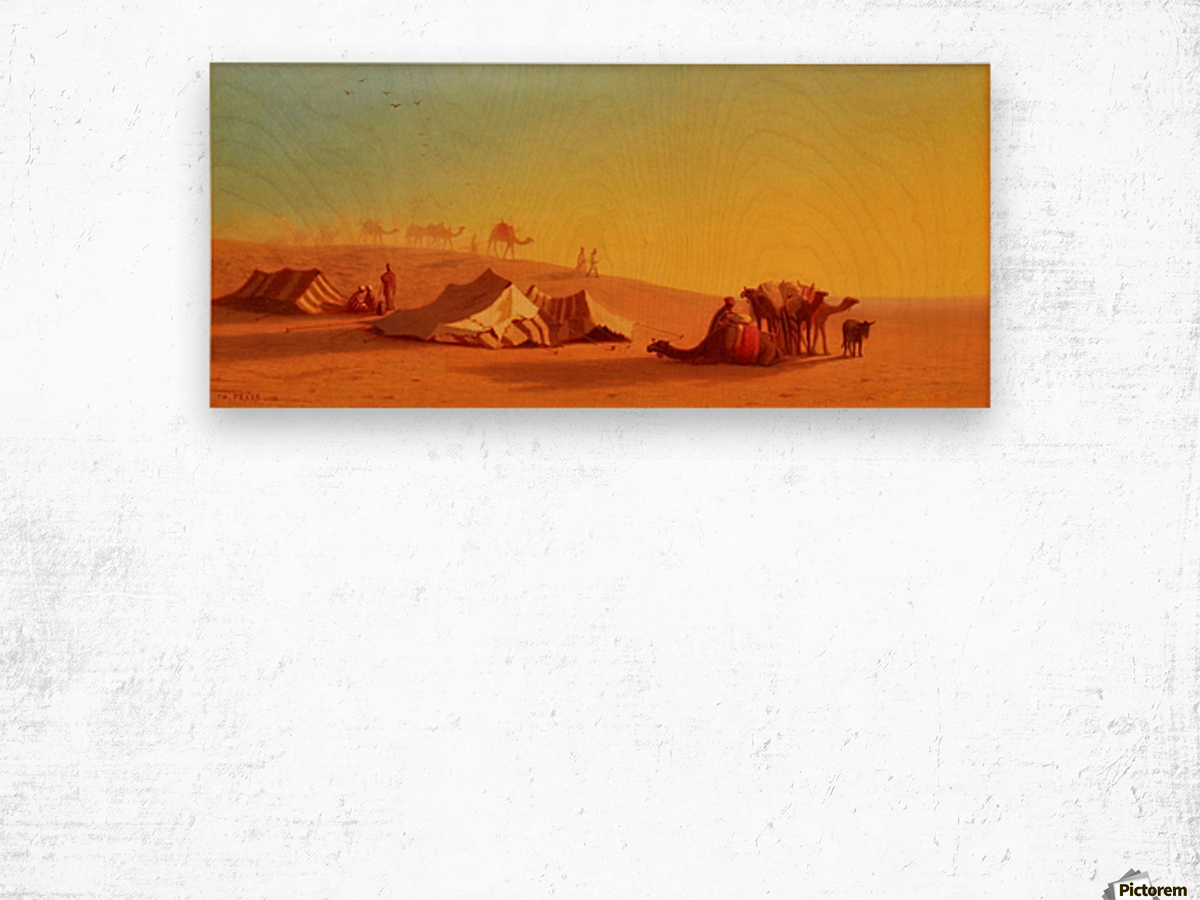 A halt in the desert Wood print