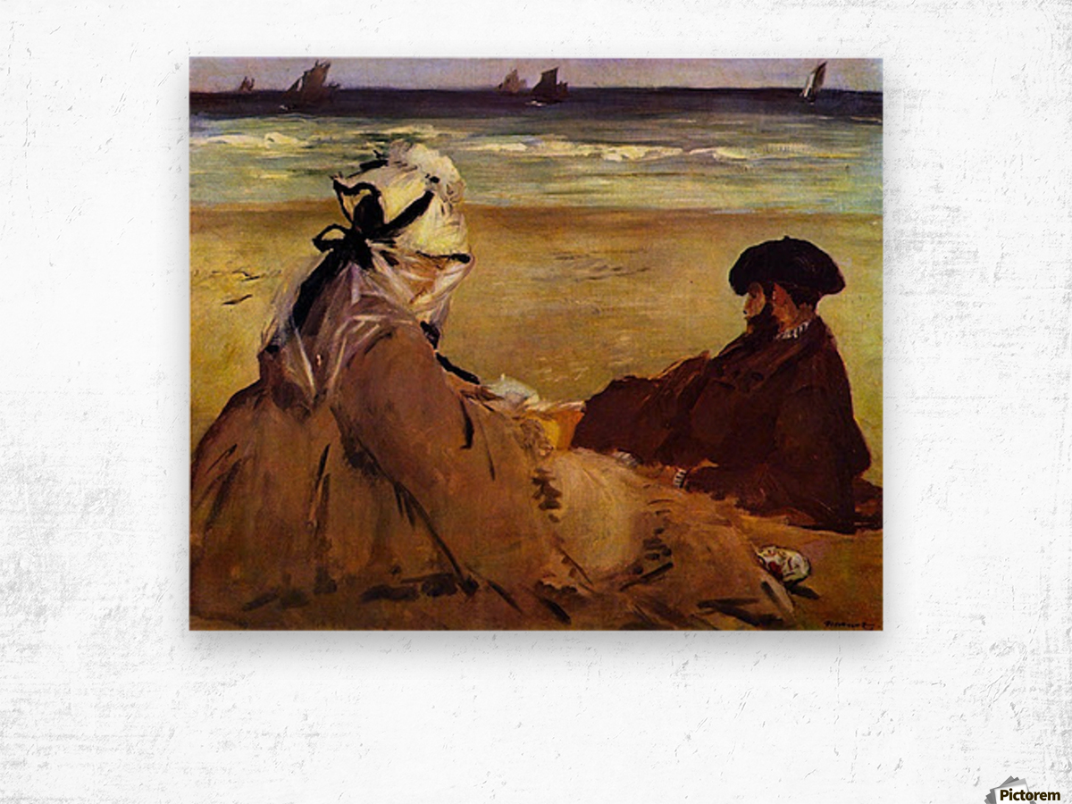 On the beach by Edouard Manet Wood print