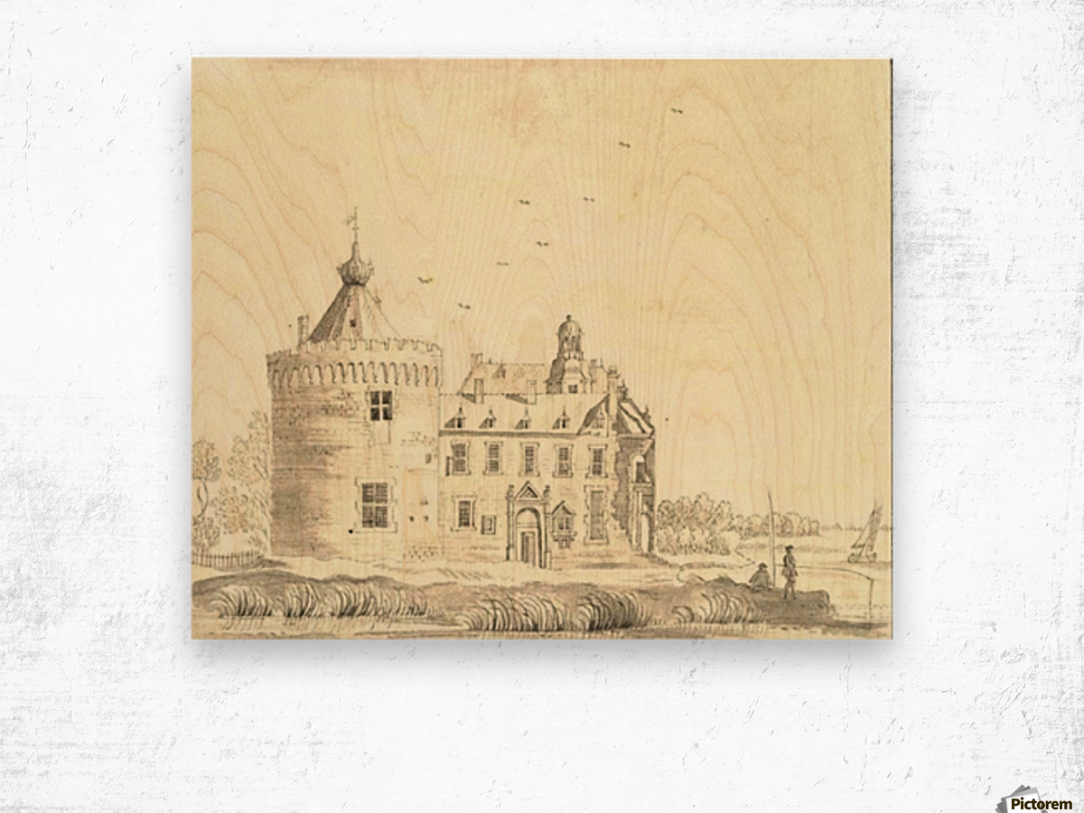 Children in front of the castle Wood print