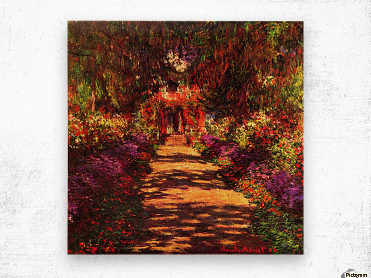 Path in Monets garden in Giverny by Monet Wood print