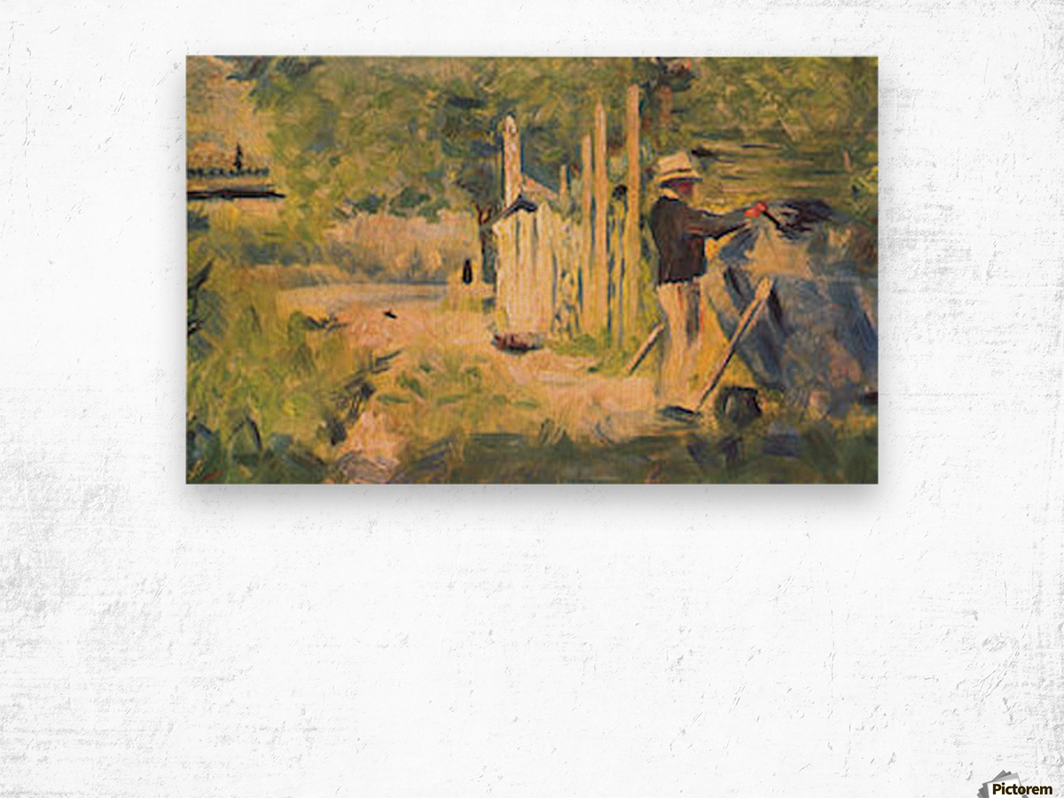 A man removes his boat by Seurat Wood print