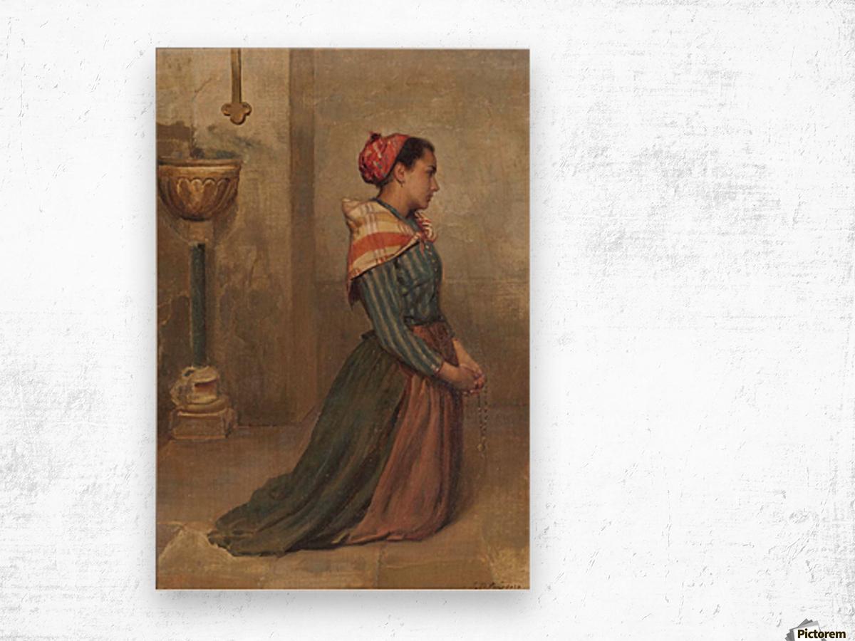 Kneeling to prayer Wood print