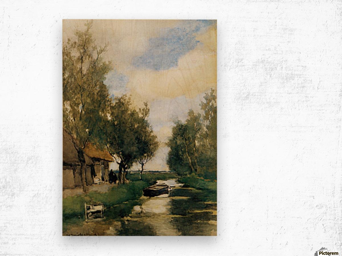 Farm on polder canal Wood print
