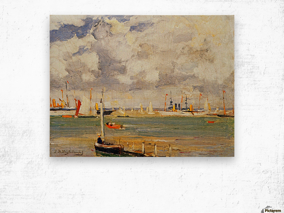 Ships in the harbour Wood print
