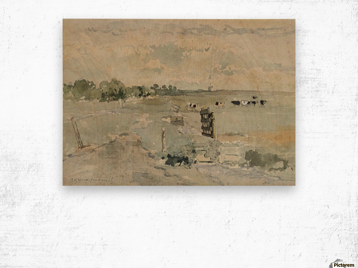 Landscape with cows and trees Wood print