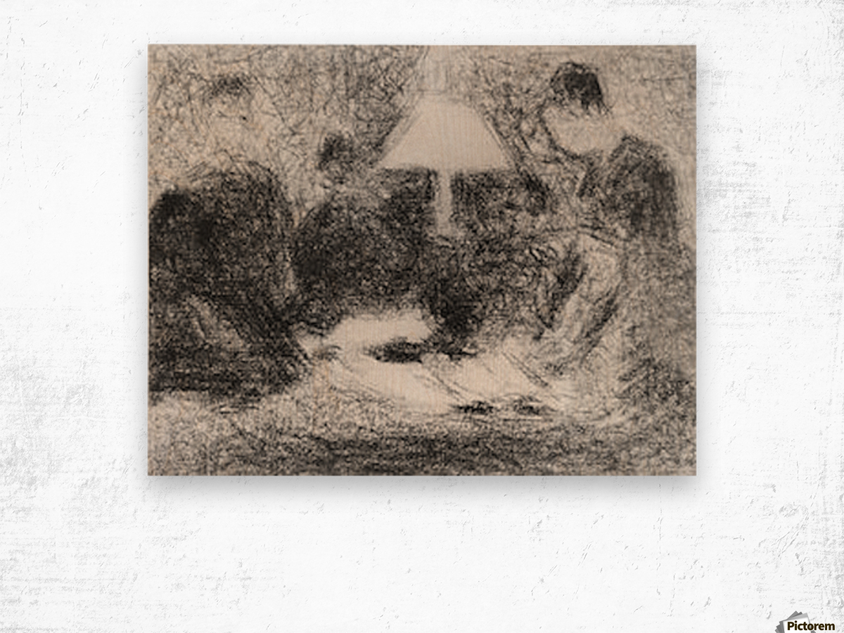 Family evening by Seurat Wood print