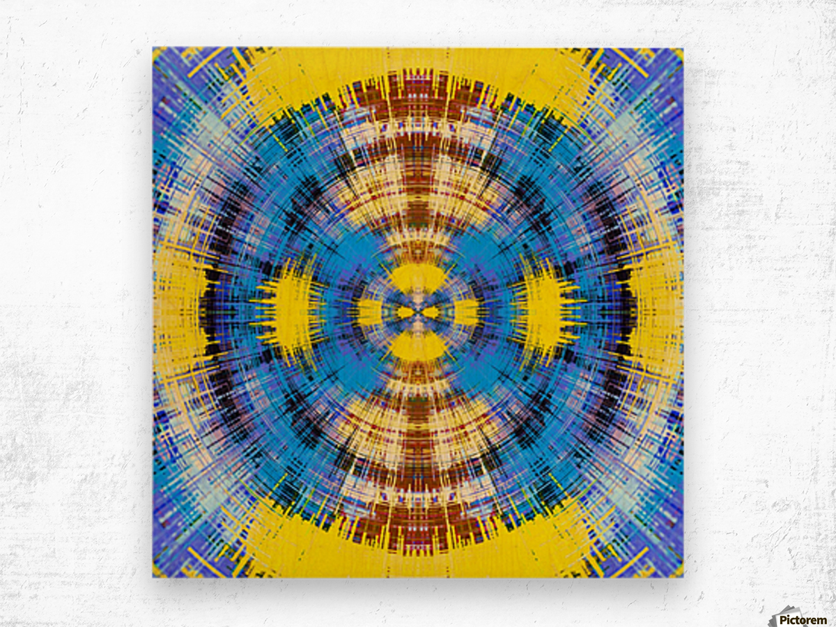 geometric blue yellow and brown circle plaid pattern abstract background Wood print