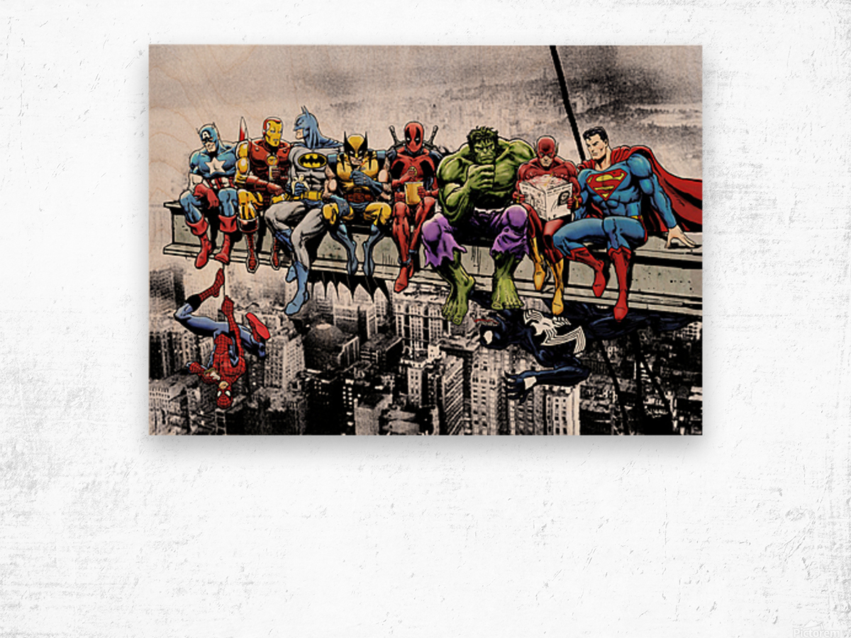 Marvel and DC Superheroes Lunch Atop A Skyscraper Featuring Captain America, Iron Man, Batman, Wolverine, Deadpool, Hulk, Flash & Superman Wood print