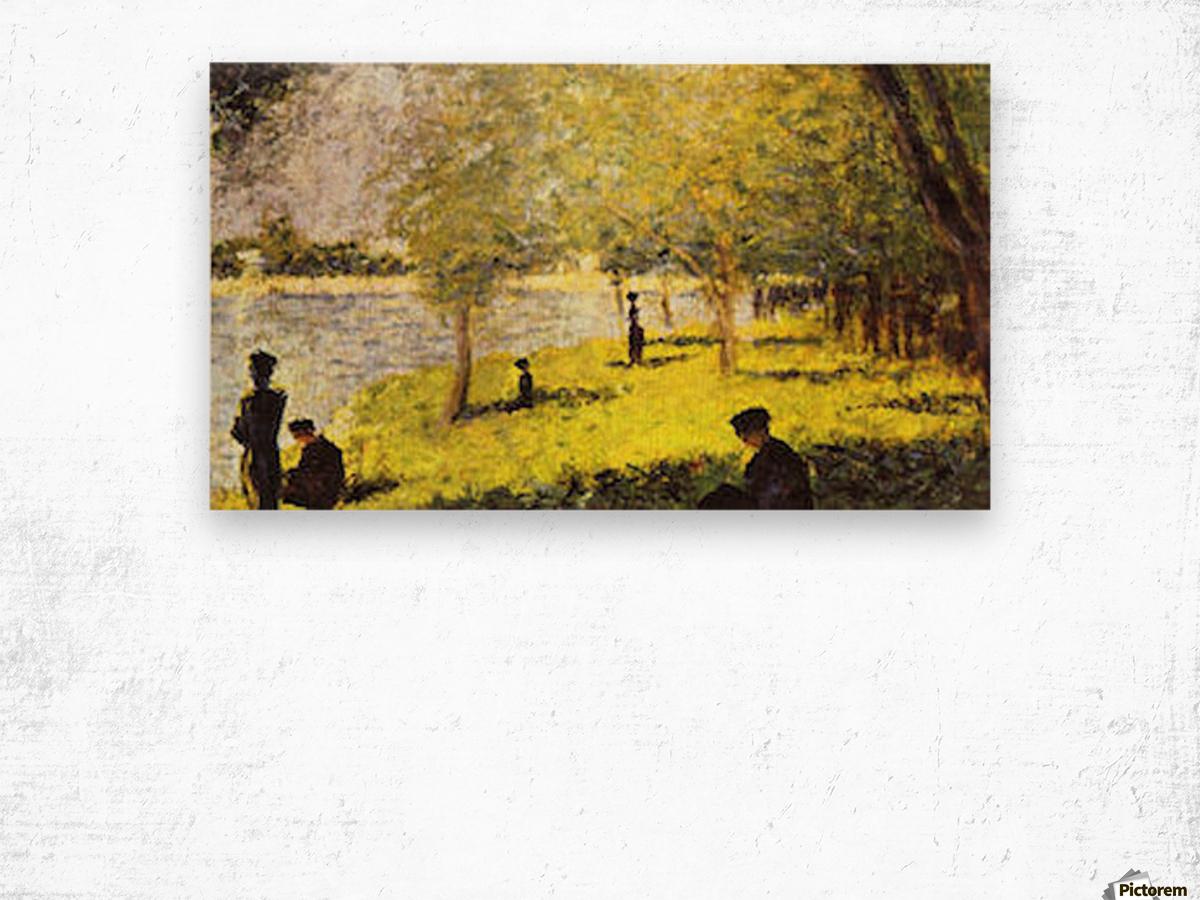 Group of people by Seurat Wood print