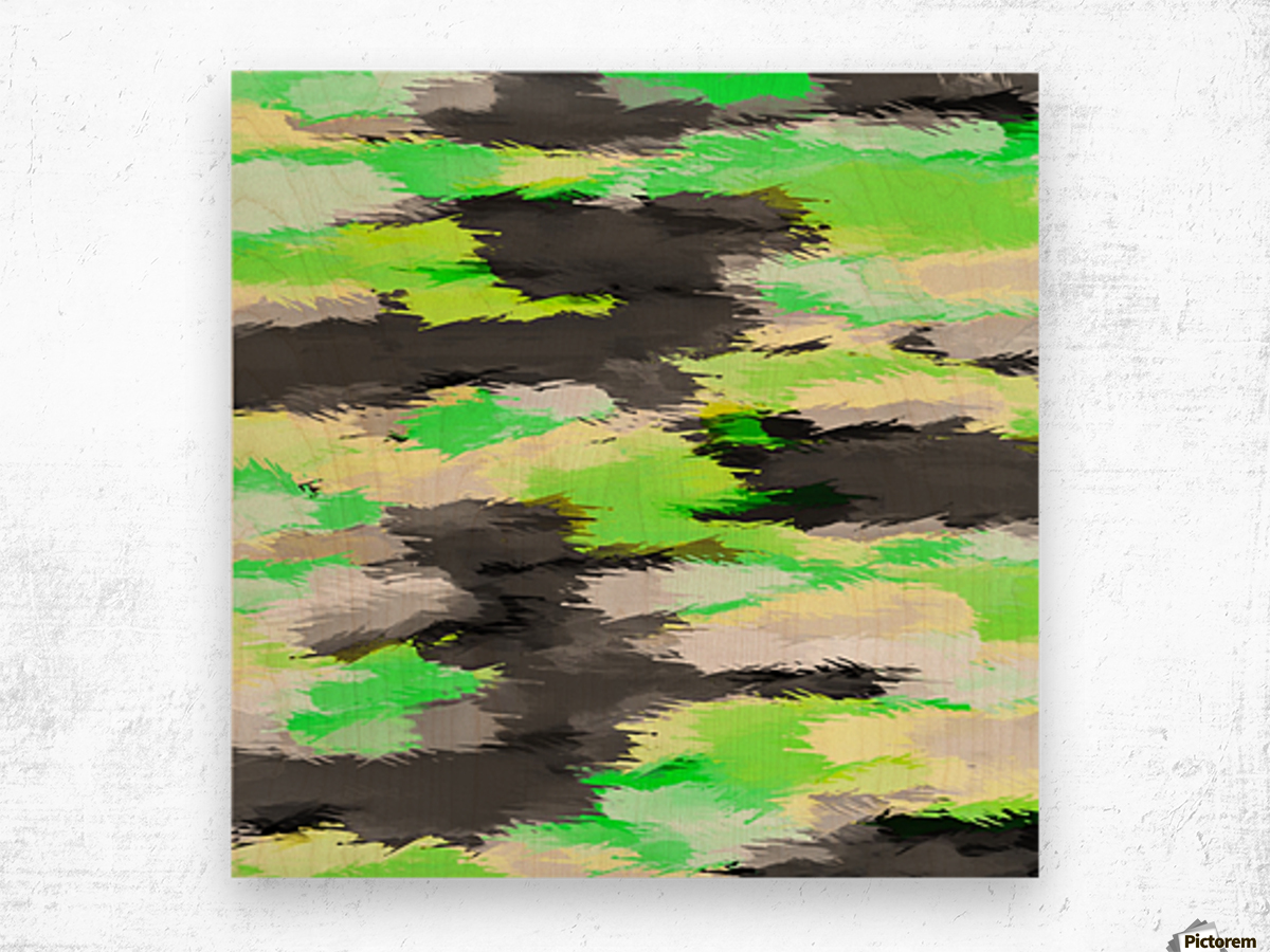 psychedelic camouflage splash painting abstract in green yellow and black Wood print