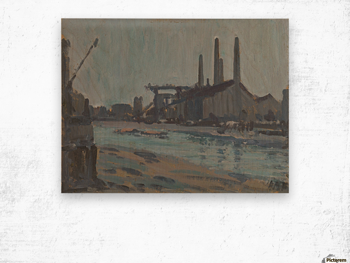 Landscape with industrial buildings by a river Wood print