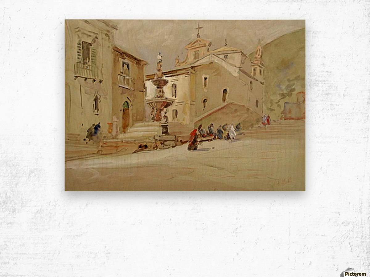 The Fountain, Taormina Wood print