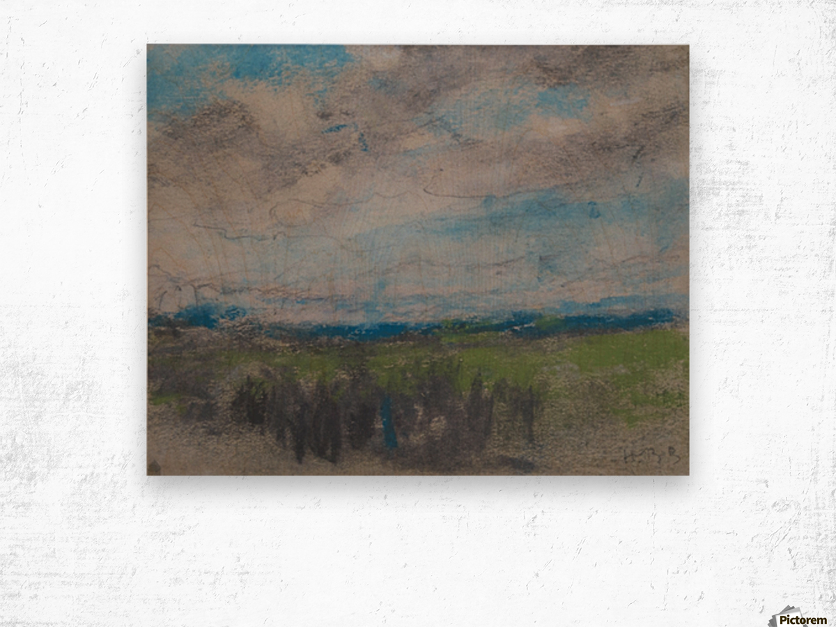 High windy sky over small copse Wood print