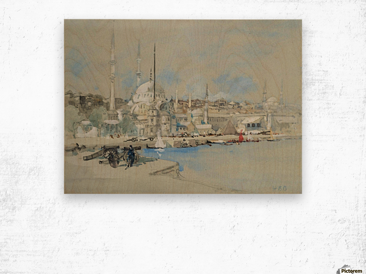 Suleymaniye Mosque with the Sultanahmet Mosque beyond, on the Golden Horn Wood print