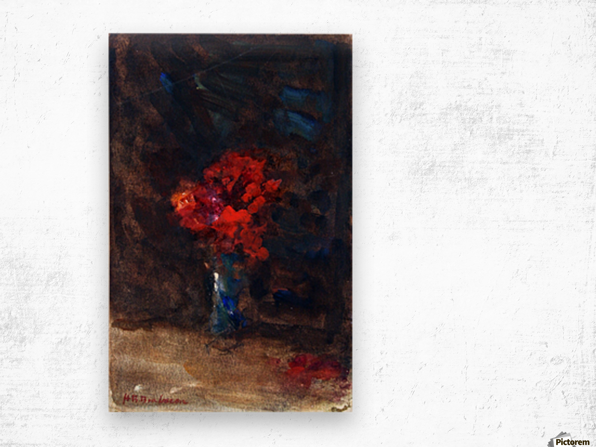 Red flowers in a blue vase Wood print