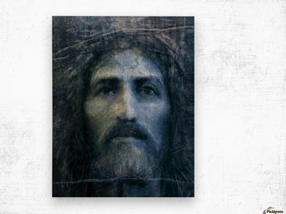 Christ face reconstruction blue Wood print
