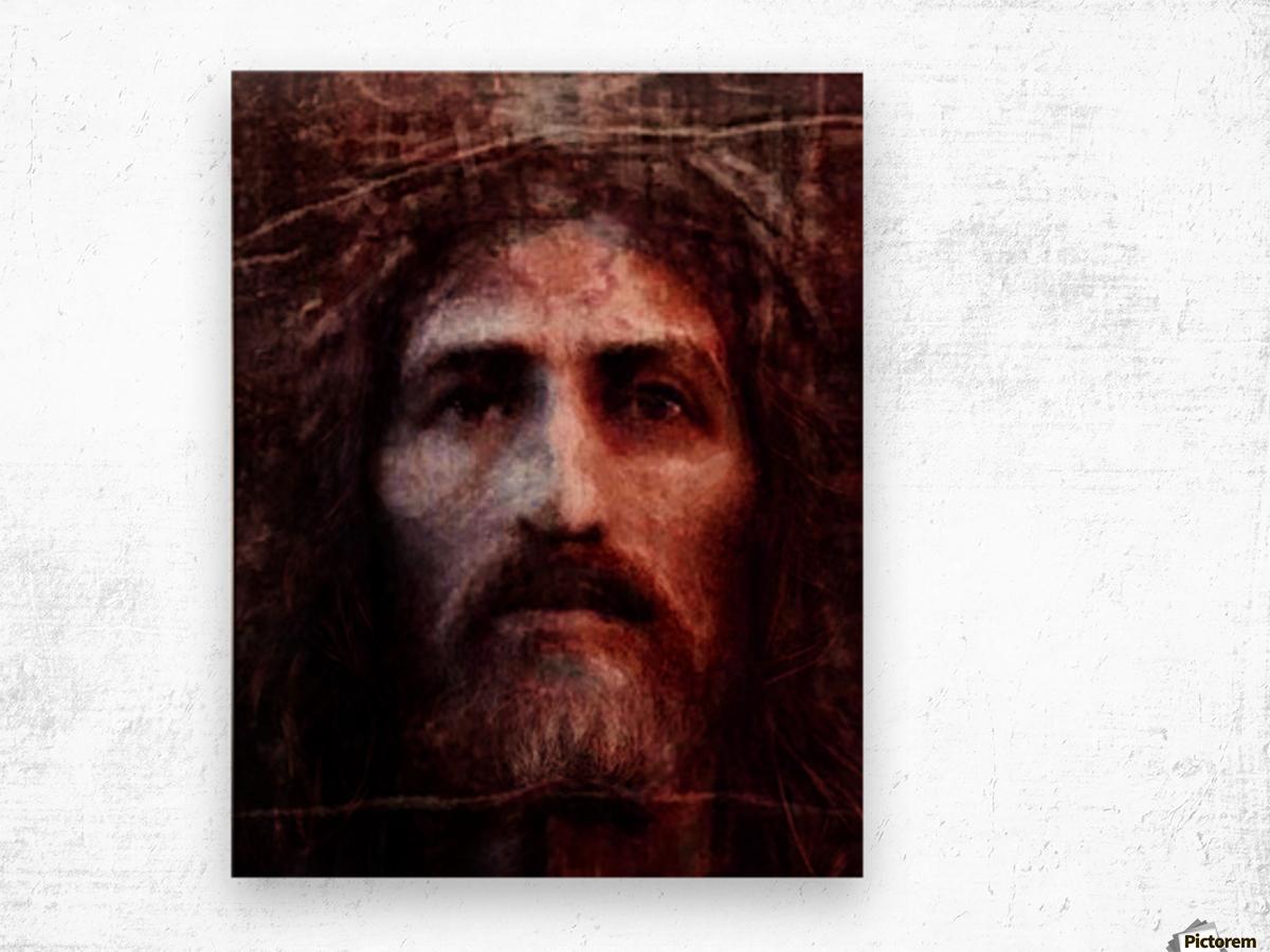 Christ face reconstruction claret Wood print