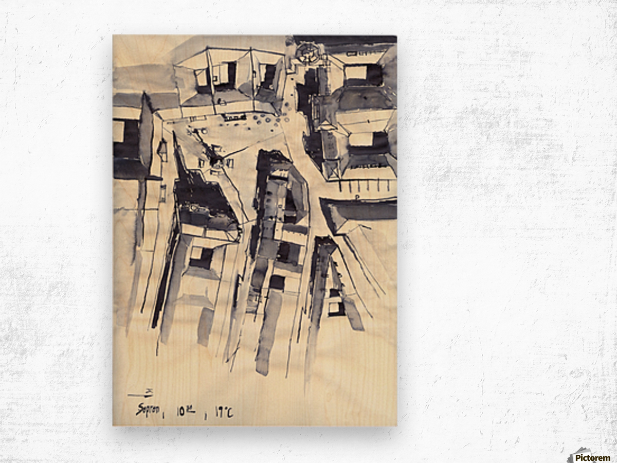 Architectural view in birdeye Indian ink Wood print