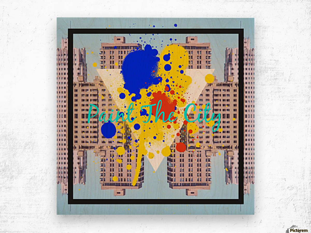 paint the city yellow blue and orange with buildings background Wood print