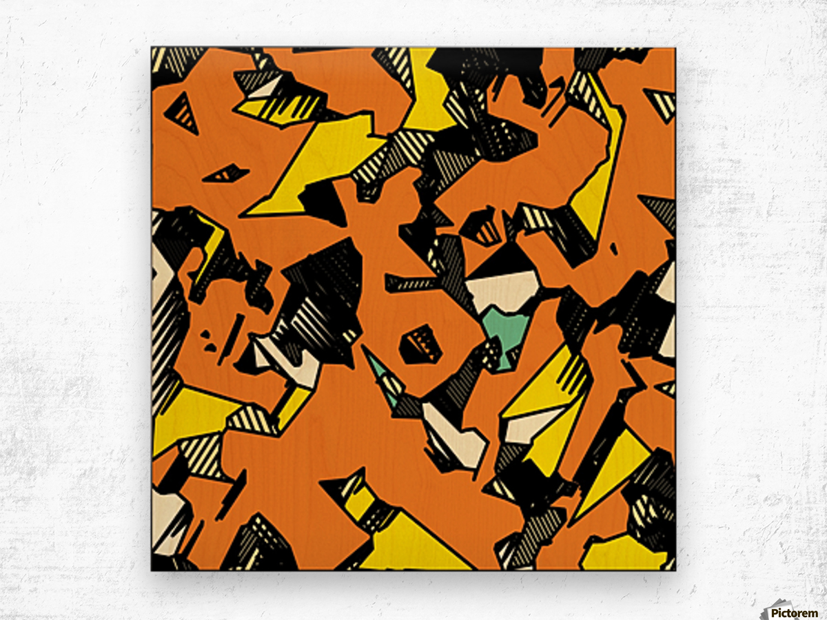 grunge geometric drawing and painting abstract in brown yellow and black Wood print