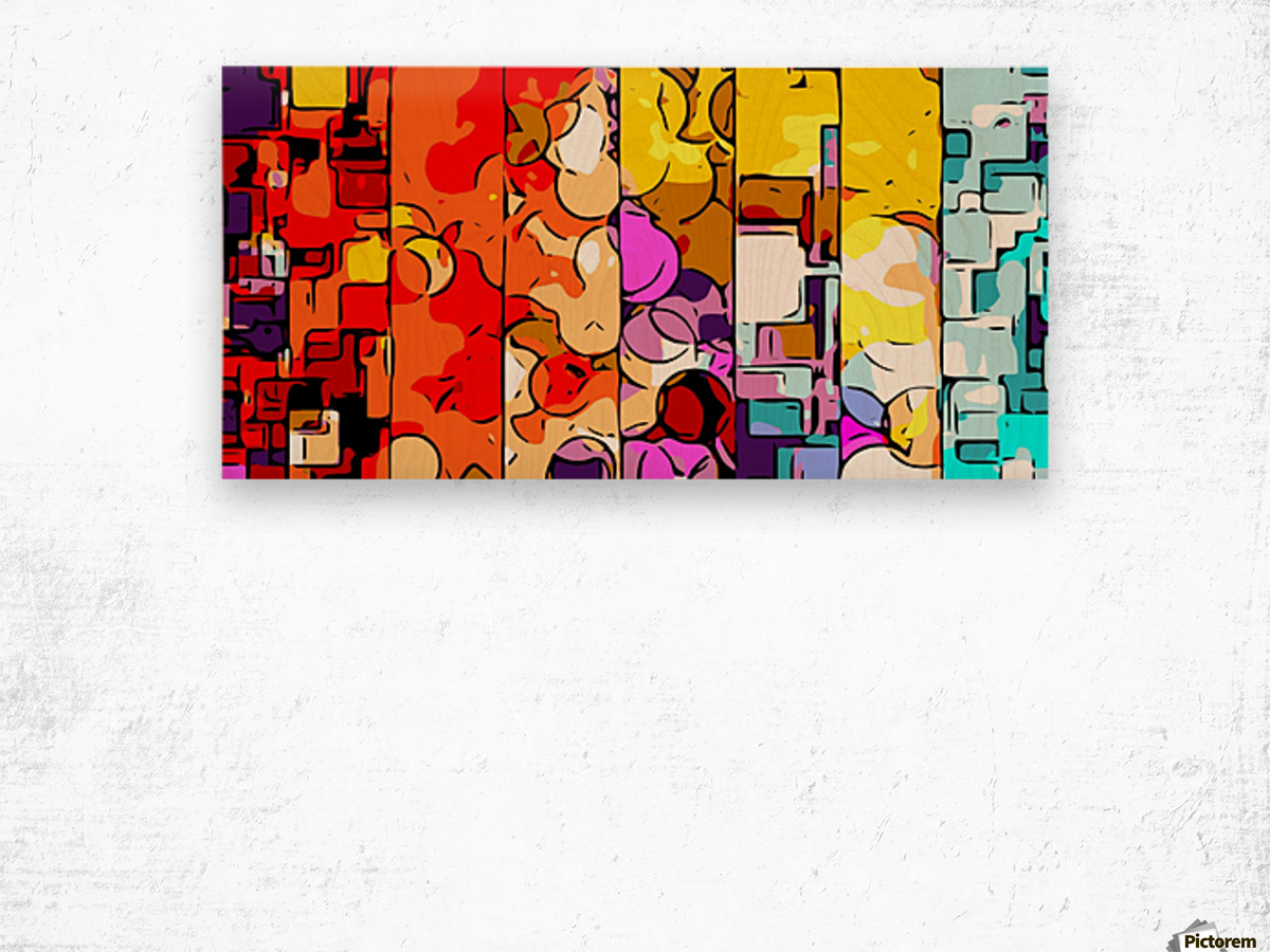 psychedelic geometric graffiti drawing and painting in orange pink red yellow blue brown purple and yellow Wood print