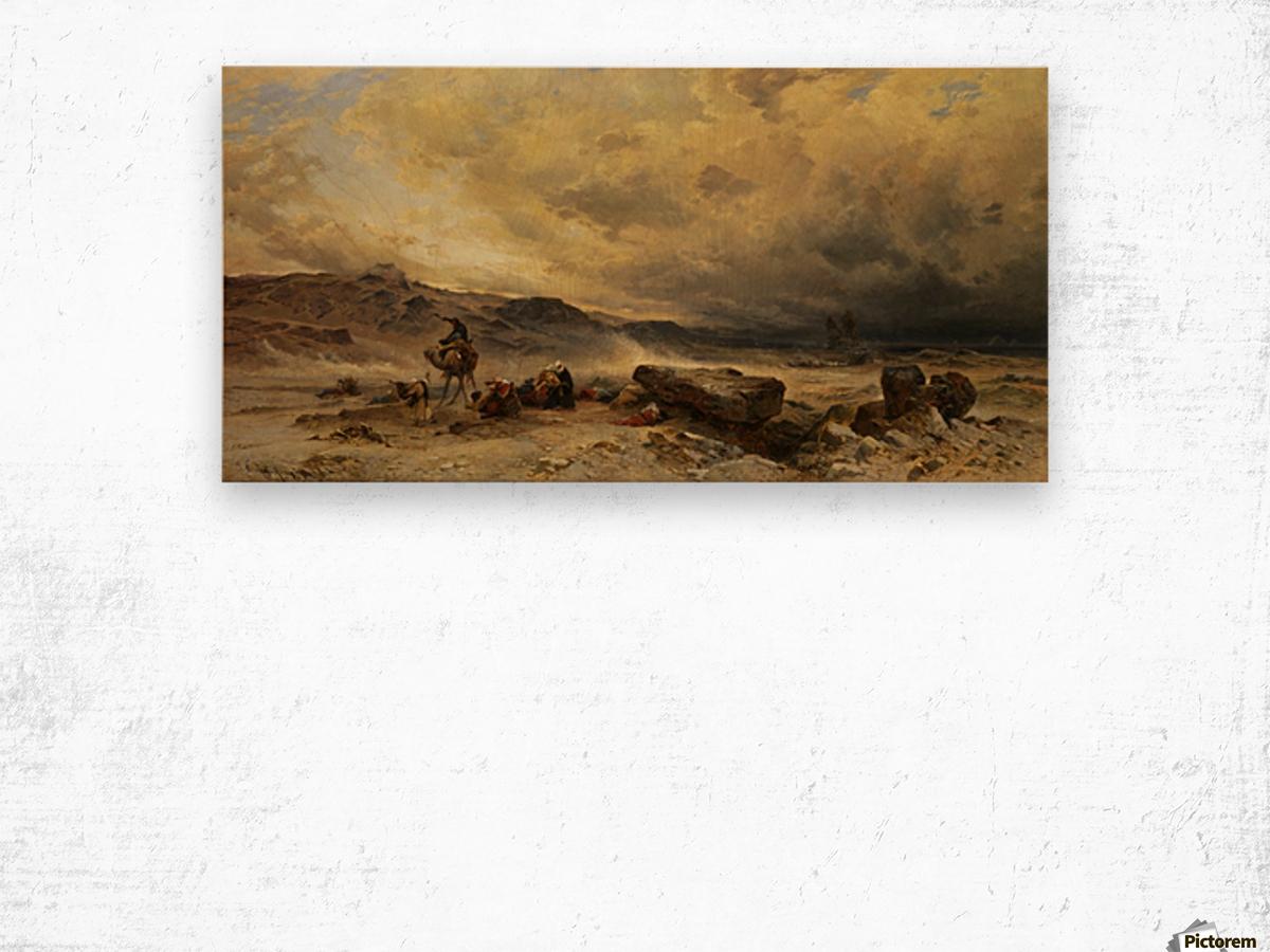 Caravan in a sandstorm Wood print