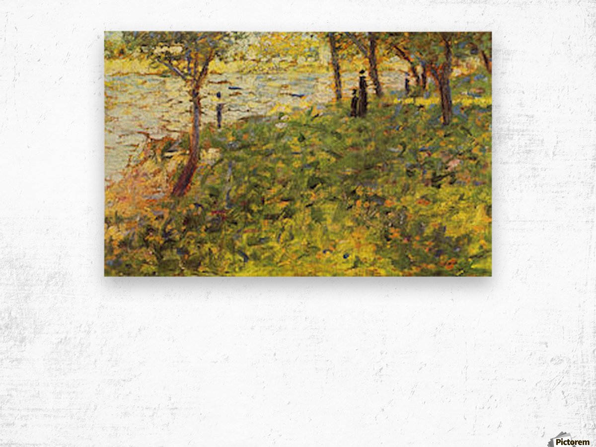 Landscape with figures by Seurat Wood print