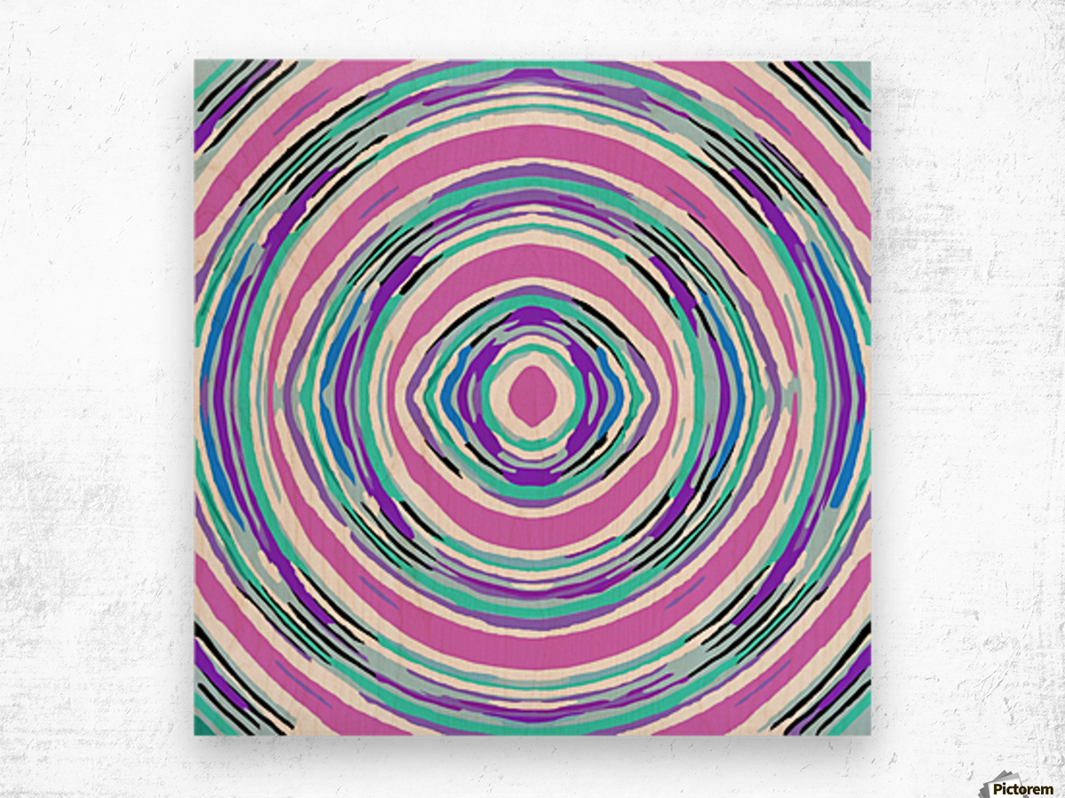 psychedelic graffiti circle pattern abstract in pink blue purple Wood print