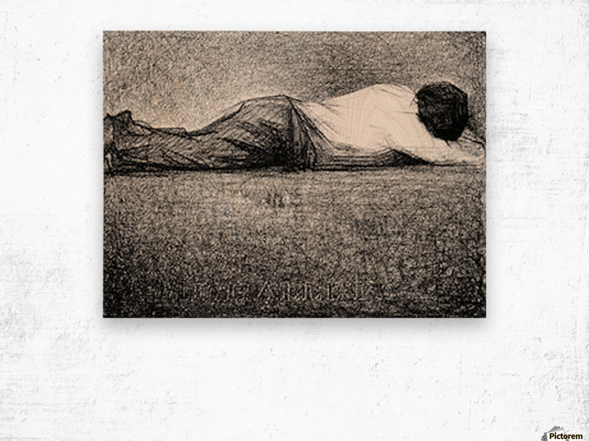 Man sleeping by Seurat Wood print