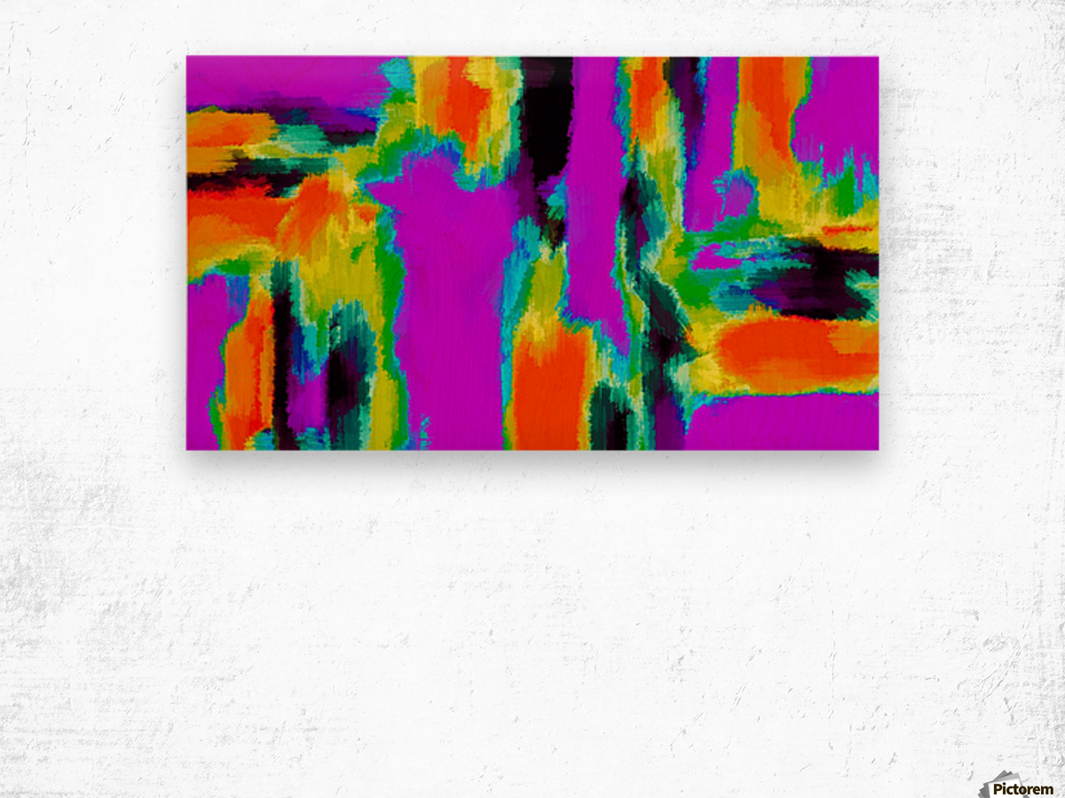 pink purple green orange black yellow and blue painting abstract background Wood print