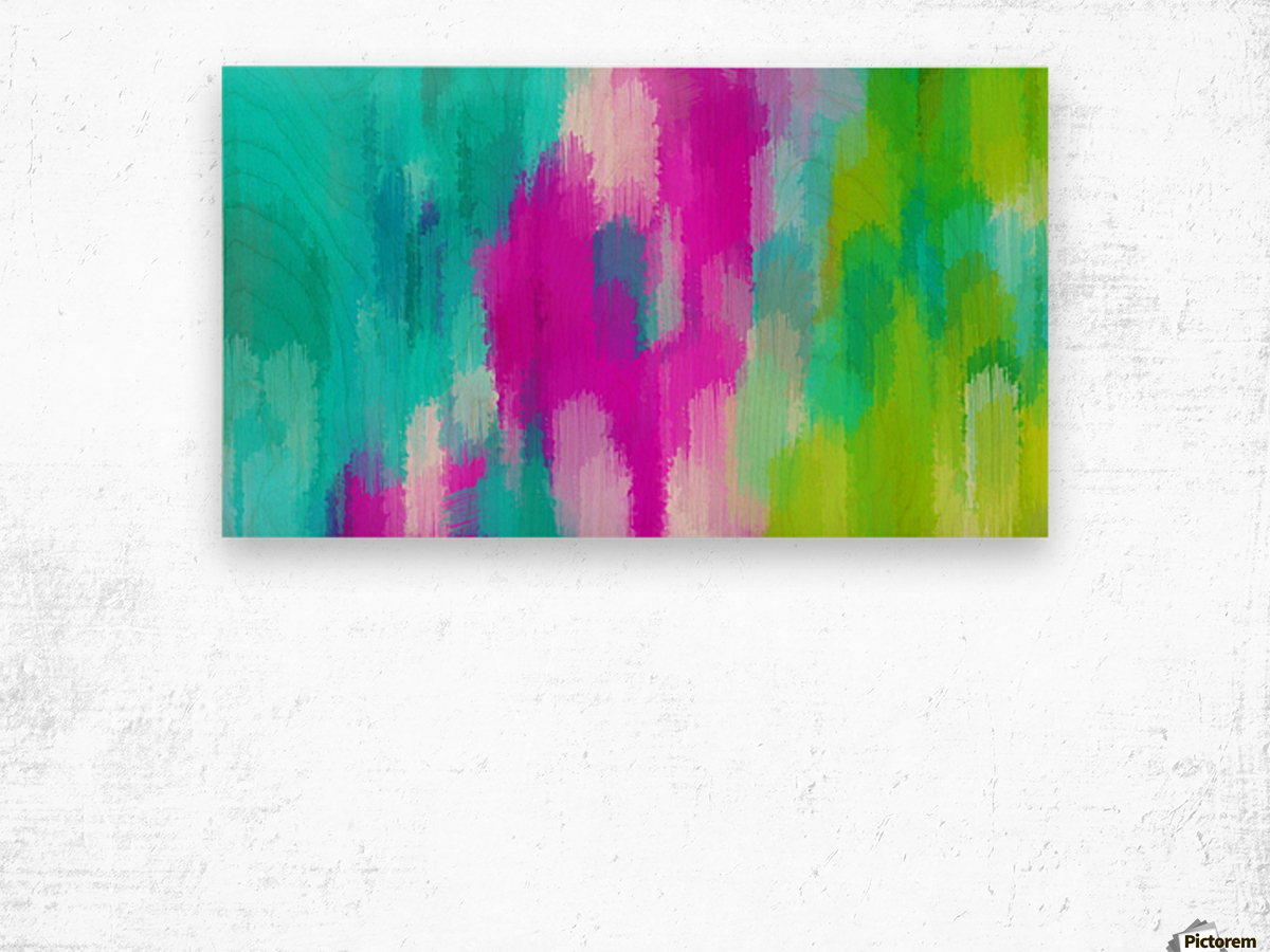 blue pink and green painting abstract background Wood print