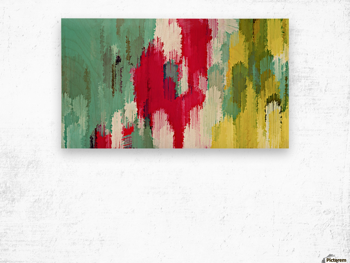red green and yellow painting texture abstract background Wood print