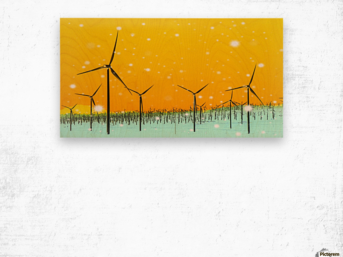 wind turbine at the desert with snow in winter Wood print