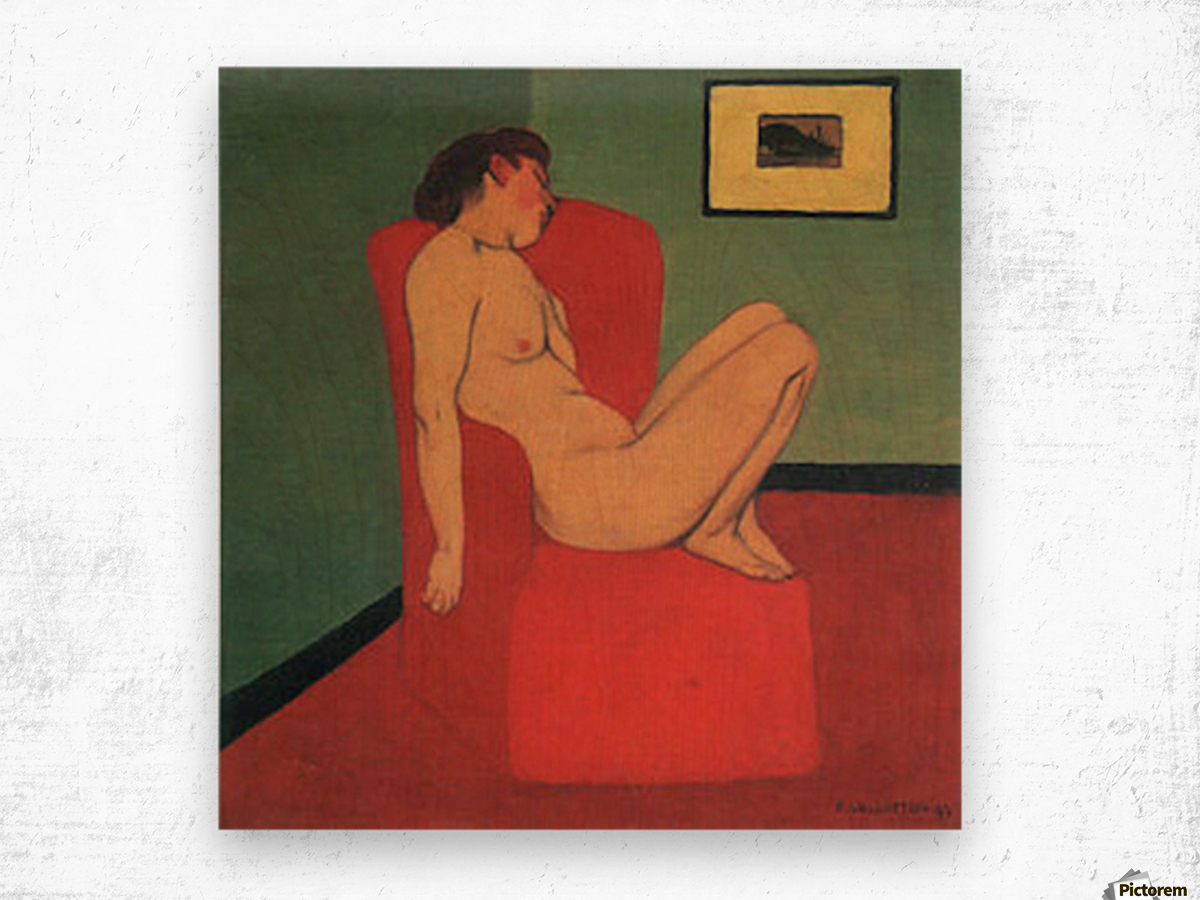 Nude in a Red Armchair by Felix Vallotton Wood print